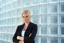 Free Business Woman Leaning On Glass Bricks Royalty Free Stock Images - 9256489