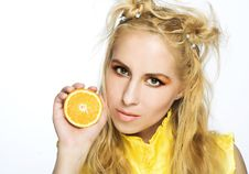 Free Young Girl With Orange Stock Image - 9256991