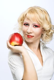 Free Portrait Of Young Woman With Red Apple Stock Photography - 9257022