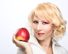 Free Portrait Of Young Woman With Red Apple Royalty Free Stock Image - 9257026