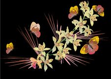 Free Butterflies And Yellow Ochids On Black Royalty Free Stock Image - 9258136