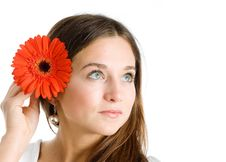 Free Beautiful Woman With A Bright Red Flower Royalty Free Stock Photo - 9258895