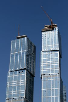 Construction Of Skyscrapes In Moscow, Russia Stock Images