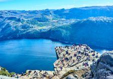 Free Mountain Range With Tourists On A Plateau  Stock Image - 92524931