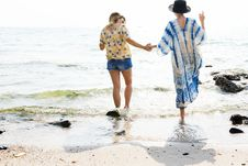 Free Walking On A Beach Stock Photography - 92525062