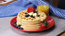 Free Waffles With Fresh Berries  Royalty Free Stock Photos - 92525268