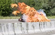 Free Explosion Of Machine On The Road Stock Photography - 9260252