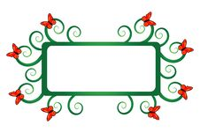 Free Green Frame With Butterfly Stock Photography - 9261352