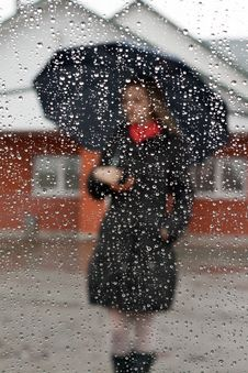 Free Beautiful Girl With Red Scarf And Umbrella Royalty Free Stock Photos - 9261768