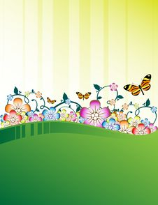 Free Green Floral Background Stock Image - 9262051