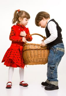 Free Two Beautiful Children With Basket Royalty Free Stock Photography - 9262347