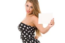 Free Girl Holding Blank Business Card Royalty Free Stock Photography - 9262487