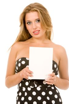 Free Girl Holding Blank Business Card Royalty Free Stock Photography - 9262497