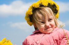 Girl And Dandelion Royalty Free Stock Images