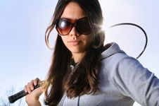 Free Young Woman With Badminton Racquet Royalty Free Stock Photography - 9262817