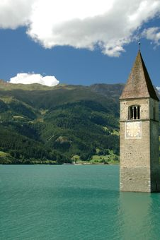 Free Tower Of Reschensee Church Stock Images - 9263024
