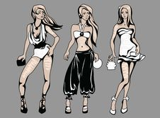 Free The Sketch Of A Summer Female Fashion Royalty Free Stock Photos - 9263358