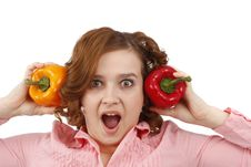 Free Woman Is Looking Surprised With Sweet Peppers. Stock Image - 9263701