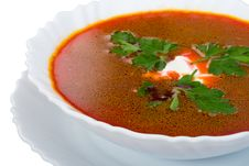 Free Close-up Soup From Beet With Sour Cream Isolated Stock Images - 9263834