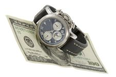 Time Is Money. Watch And Hundred Dollars Banknote Royalty Free Stock Photo