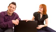 Free Couple With Banner Royalty Free Stock Image - 9264956