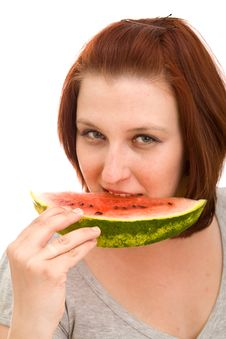 Free Woman Eating Water Melon Royalty Free Stock Images - 9265099