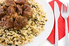 Free Fried Beef With Rice And Red Napkin Stock Photo - 9265190