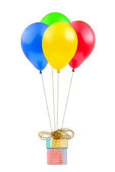 Balloons And Gift Royalty Free Stock Photo