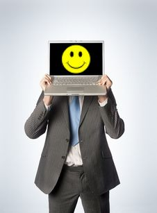 Free Happy Male Laptop Stock Photography - 9266202