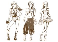 Free The Sketch Of A Summer Female Fashion Stock Photo - 9268160