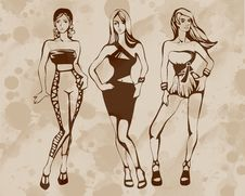 Free The Sketch Of A Summer Female Fashion Royalty Free Stock Images - 9268309