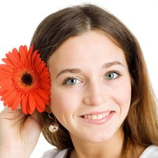Beautiful Woman With A Bright Red Flower Stock Images