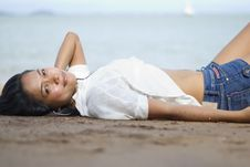 Lady On The Beach Royalty Free Stock Images