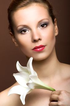 Free Beautiful Woman With A Flower Royalty Free Stock Photo - 9272805