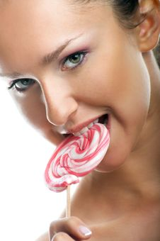 Free Smiling Woman With A Lollipop Stock Images - 9272864