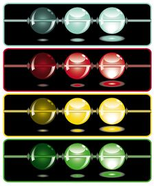 Glowing Beads In The Dark On Four Rows Stock Image