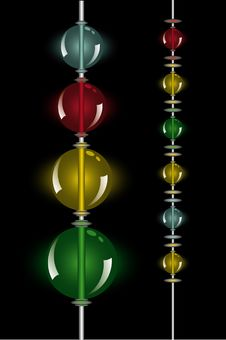Glowing Beads In The Dark On Two Rows Stock Images