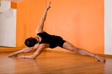 Muscular Dancer Posing In Hall Stock Photo