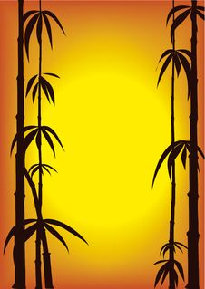 Free Silhouette Of Bamboo Shoots Over A Sunset Backgrou Stock Photos - 9274833
