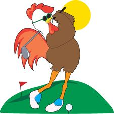 Rooster Golfer Royalty Free Stock Images