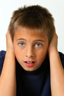 Boy Covering Ears, Straigh Forward Stock Photography