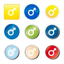 Free Male Web Button Royalty Free Stock Images - 9277039