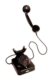 Free Black Vintage Telephone, Isolation On White Stock Images - 9277374