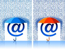 Free E-mail Sign Under Umbrella Royalty Free Stock Photo - 9277565