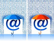Free E-mail Sign Under Umbrella Royalty Free Stock Photo - 9277565