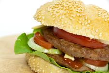 Free Hamburger With Lettuce,cheddar,tomato Stock Image - 9278911