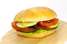 Free Hamburger With Lettuce,cheddar,tomato Royalty Free Stock Images - 9278919