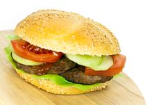 Free Hamburger With Lettuce,cheddar,tomato Royalty Free Stock Photo - 9278925