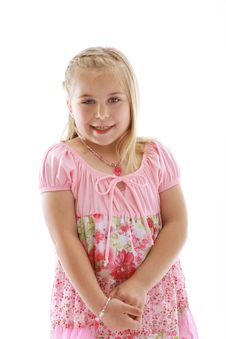 Cute Little Girl Wearing A Pink Dress Royalty Free Stock Image