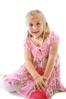 Free Cute Little Girl Wearing A Pink Dress Stock Photography - 9278952